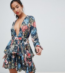 John Zack Petite Plunge Front Ruffle Tea Dress In Dark Floral Print - Multi