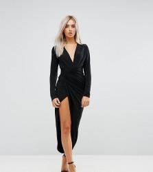 John Zack Petite Plunge Front Wrap Maxi Dress - Black