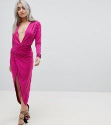 John Zack Petite Plunge Front Wrap Maxi Dress - Pink