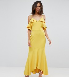 John Zack Petite Ruffle Bust Fishtail Maxi Dress - Yellow