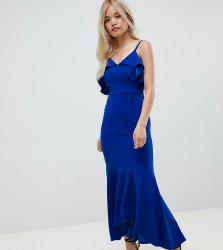 John Zack Petite ruffle detail fishtail maxi dress in cobalt - Blue