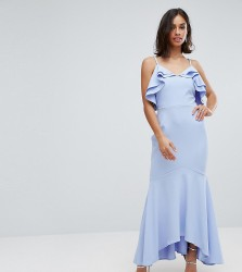 John Zack Petite Ruffle Front Fishtail Maxi Dress With High Low Hem - Blue