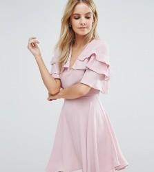 John Zack Petite Ruffle Shoulder Mini Tea Dress - Pink
