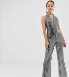 John Zack Petite sequin glitter halterneck wide leg jumpsuit in silver - Silver