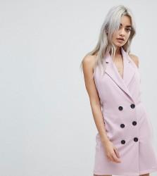 John Zack Petite Sleeveless Tuxedo Dress - Pink