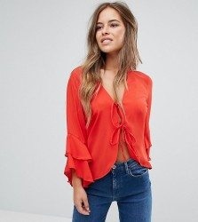 John Zack Petite Tie Front Blouse With Ruffle Sleeve - Pink