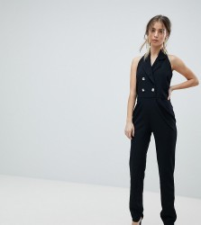 John Zack Petite Tuxedo Jumpsuit With Collar Detail - Black