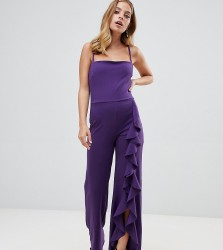 John Zack Petite wide leg jumpsuit with exaggerated ruffle detail in purple - Purple
