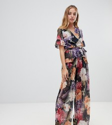 John Zack Petite wide leg trouser Co-ord in soft floral print - Multi