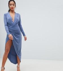 John Zack Petite Wrap Front Maxi Dress - Blue