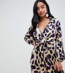 John Zack Petite wrap shirt in purple leopard - Multi