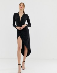 John Zack plunge front ruched maxi dress in black - Black