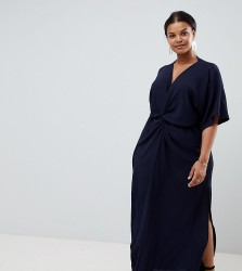 John Zack Plus knot front maxi dress in navy - Navy