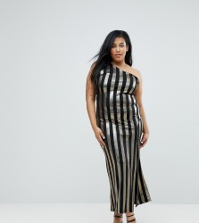John Zack Plus One Shoulder Contrast Stripe Maxi Dress - Multi