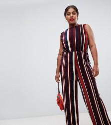John Zack Plus plisse wide leg jumpsuit in contrast stripe print - Multi
