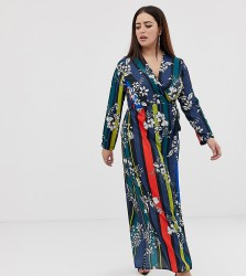 John Zack Plus wrap front maxi dress in contrast foral stripe print - Multi