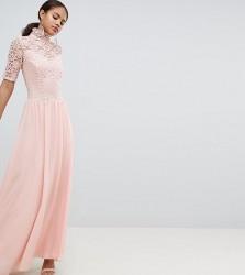 John Zack Tall High Neck Cutwork Lace Top Maxi Dress - Pink