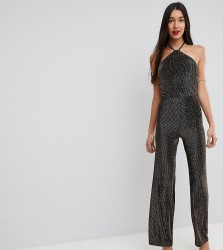 John Zack Tall High Neck Glitter Wide Leg Jumpsuit - Gold