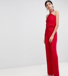 John Zack Tall High Neck Wide Leg Jumpsuit - Red