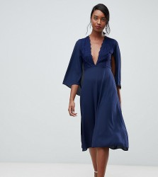 John Zack Tall lace top midi skater dress with cape detail in navy - Navy