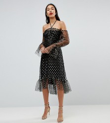 John Zack Tall Long Sleeve Cold Shoulder Metallic Star Print Midi Dress - Black