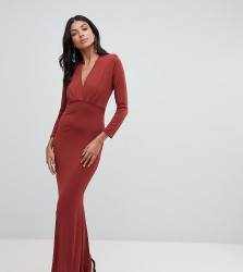 John Zack Tall plunge front maxi dress with fishtail in rust - Brown
