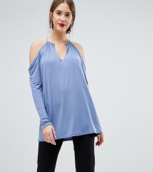 John Zack Tall Plunge Top With Metal Neck Detaiil - Blue