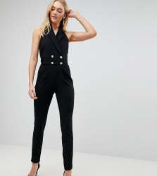 John Zack Tall Tuxedo Jumpsuit With Collar Detail - Black