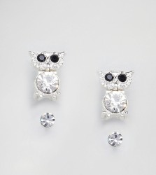Johnny Loves Rosie 2 Pack Stud With Owl - Silver