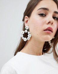 Johnny Loves Rosie 3D Floral Statement Earrings - White