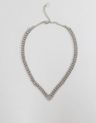 Johnny Loves Rosie Chunky Diamante V Necklace - Silver