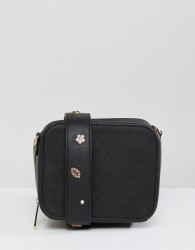 Johnny Loves Rosie Crossbody Bag with Interchangeable Embellished Strap - Black