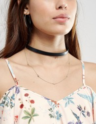 Johnny Loves Rosie Double Layered Choker Necklace - Black