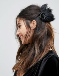 Johnny Loves Rosie Faux Feather Hair slide - Black