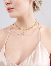 Johnny Loves Rosie Feather Chain Choker - Gold