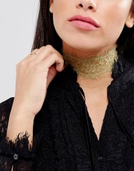 Johnny Loves Rosie Festival Gold Lace Choker Necklace - Silver