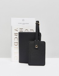 Johnny Loves Rosie Monogramme Luggage Tags and Passport Holder - Black