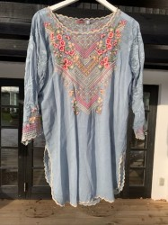 Johnny Was - Adonia Blouse - Dusty Blue