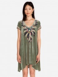 Johnny Was - Carmella Velvet Drape Tunic Dress - Twilight Mist