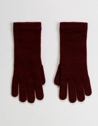 Johnstons of Elgin 100% Cashmere Gloves in Berry - Red