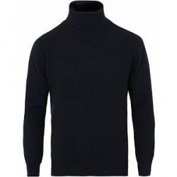 Johnstons of Elgin Wool/Cashmere Ribbed Rollneck Dark Navy