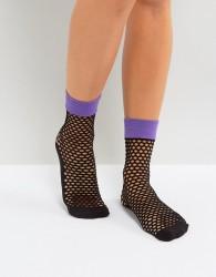 Jonathan Aston Flash Coloured Top Fishnet Ankle Socks in Bright Purple - Purple