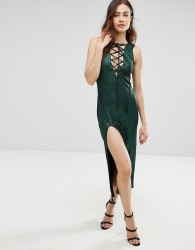 Jovonna Calm Before The Storm Midi Dress With Lace Up Front - Green