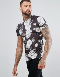 Juice Rose Print T-Shirt - Black