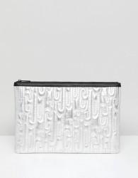Juicy By Juicy Couture Metallic Embossed Logo Clutch Bag - Silver