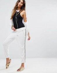 Juicy Couture Black Label Microterry Pant With Racer Stripe - White