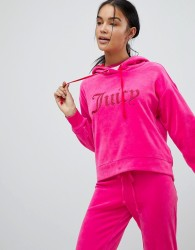 Juicy Couture Black Label Pull Over Hoody with Glitter Gothic Logo - Pink