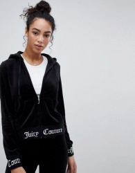 Juicy Couture Black Label Velour Hoodie With Logo Waistband and Cuff - Black