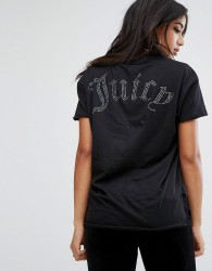 Juicy Couture Hi Lo T-Shirt with Back logo - Black