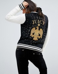 Juicy Couture Varsity Jacket With Eagle - Black